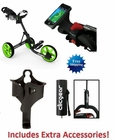 Clicgear 3.5+ Golf Push Cart Charcoal/Lime FREE XTRA ACCESSORIES!