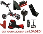 LOADED! Clicgear 3.5+ Golf Push Cart Value Package Free Shipping! Our BEST VALUE!