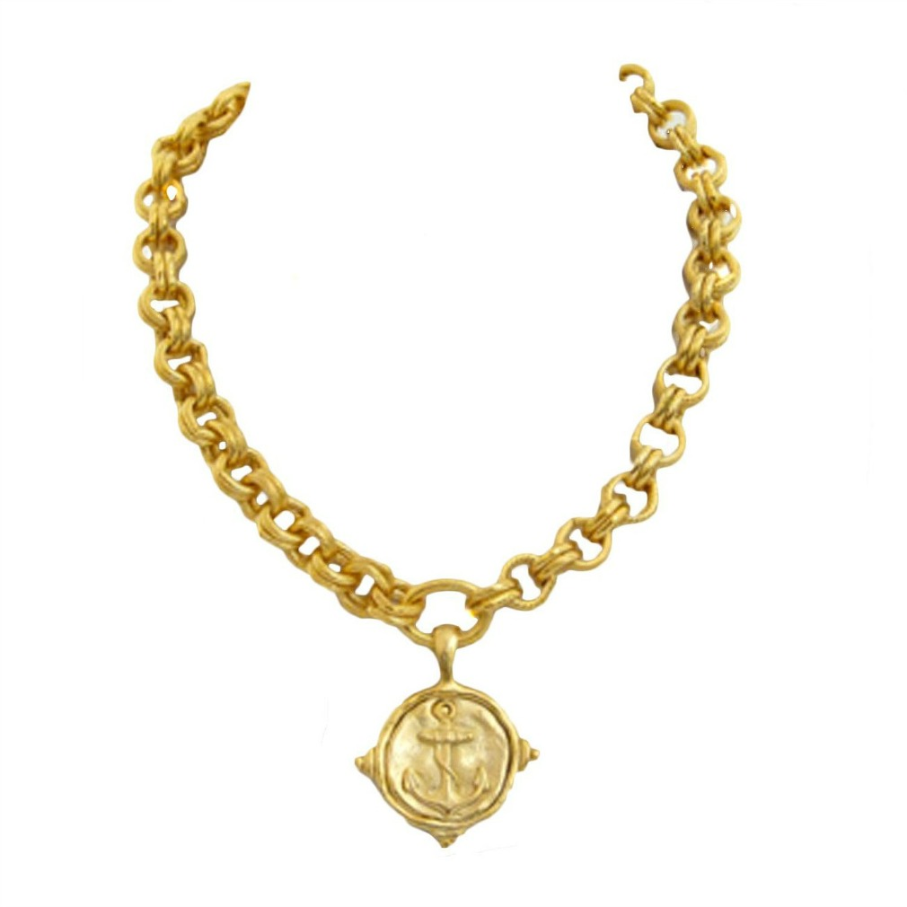 In fashion kids 18k gold plated womens anchor pendant necklace aloadofball Image collections