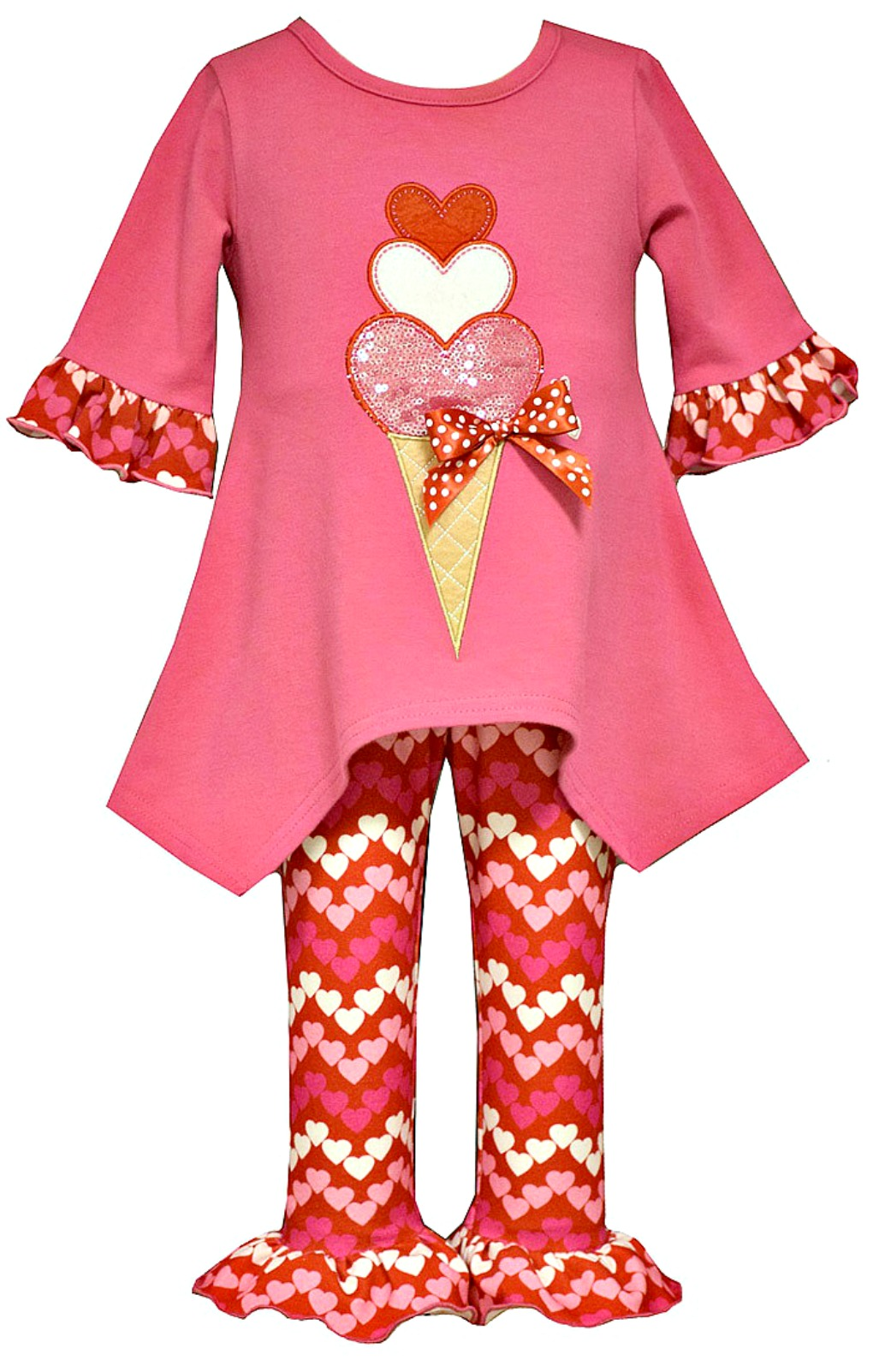 bonnie jean baby girls fuchsia heart ice cream valentines day pant set sold out