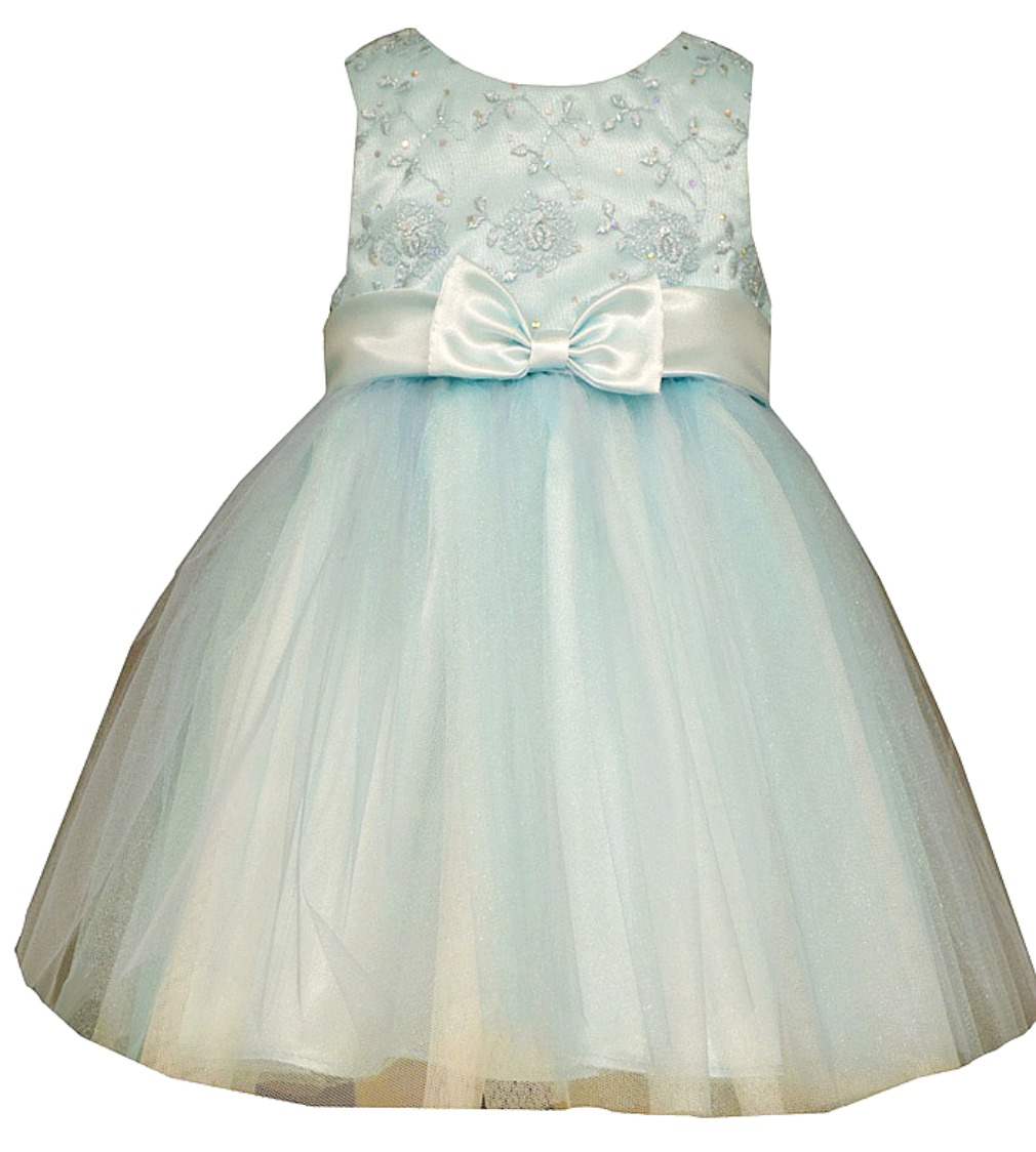 Bonnie Jean Baby Girls Sky Blue Satin Tulle Formal Dress