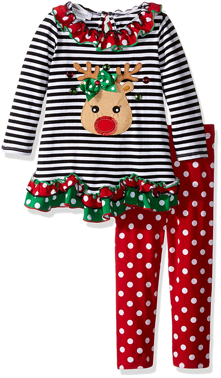 Bonnie Jean Christmas Outfits.Bonnie Jean Baby Girls Christmas Reindeer Legging Set