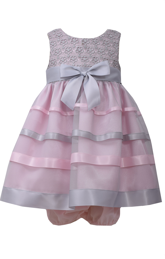 6d596477719b Bonnie Jean Baby Girls Pink and Grey Lace Ribbon Dress