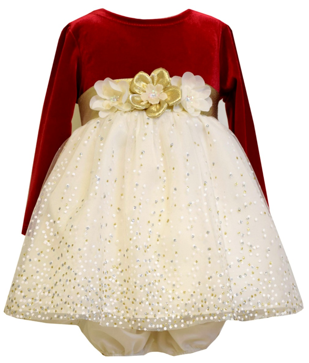 5bb897fcb Bonnie Jean Baby Girls Red Gold Bow Stretch Velvet Party Dress 3-6 months