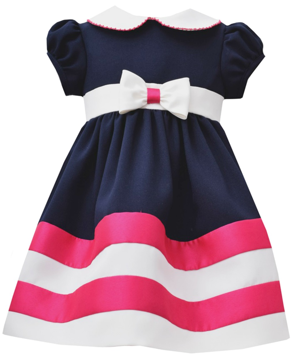 6bf5b943bab Bonnie Jean Little Girls' Nautical Navy Fuchsia Striped Dress 2T