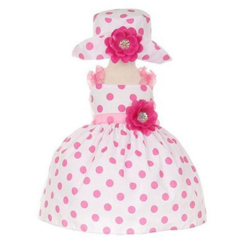 Very Cute Baby Girls Polka Dot party Bow Waist Dress Ivory Red Black Red