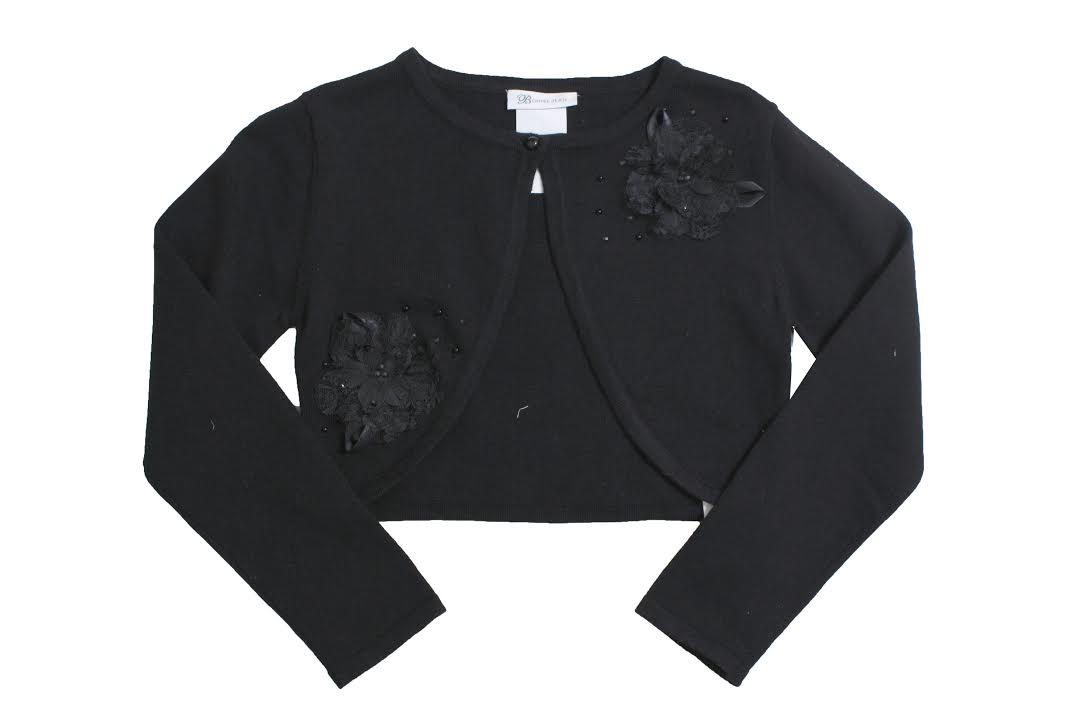 4c4676ad5bf Girls Black Cardigan Sweater : Black Beaded Cardigan