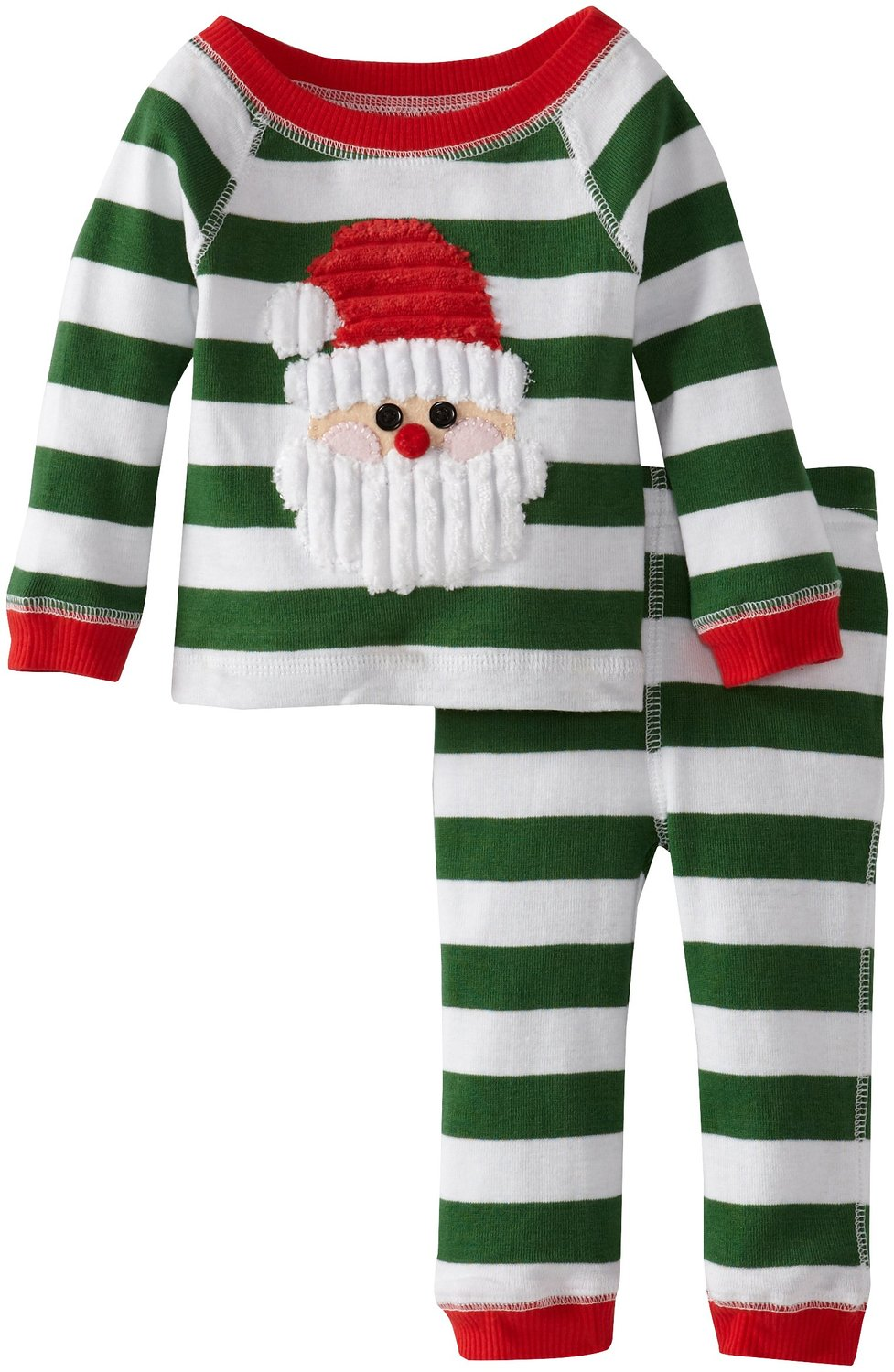 Kids Christmas Pajamas.Green Stripes Santa Lounge Set Mud Pie Infant Or Toddler