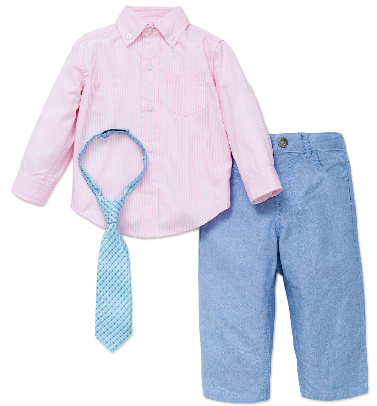 29f61d971 LIttle Me Boys PInk Oxford Shirt Tie and Pant Set