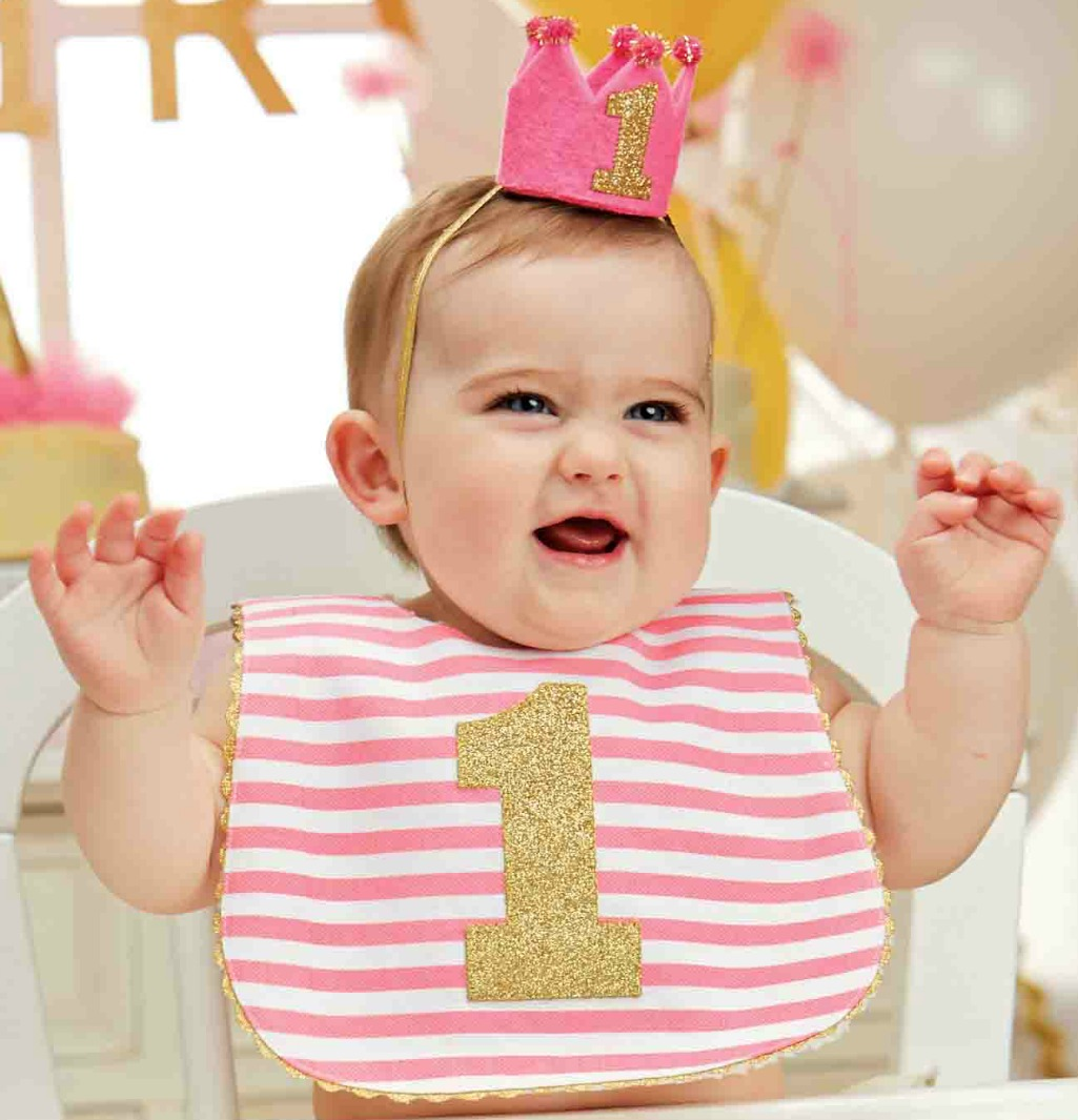 Mud Pie Baby-Girls 1st Birthday Bib - Pink and Gold #1 - out of stock