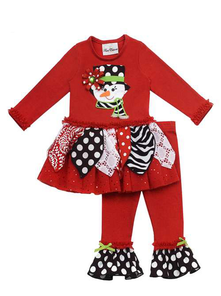 Rare Editions Girls Christmas Outfits : Red Printed Snowman Girls Legging  Set - In Fashion Kids