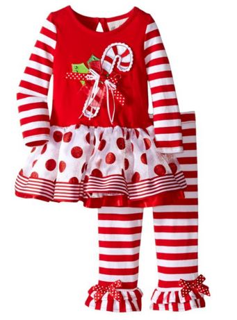 Rare Editions Baby Christmas Outfit Candy Cane Dot Stripe Set - In Fashion Kids