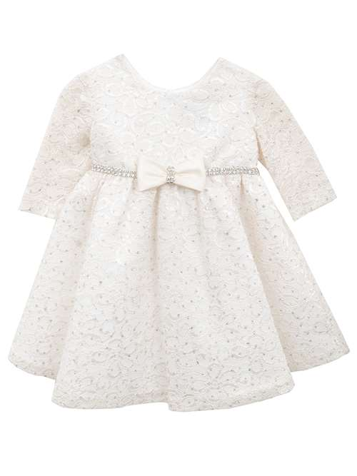 Rare Editions Baby Girls Ivory Glitter Lace Dress