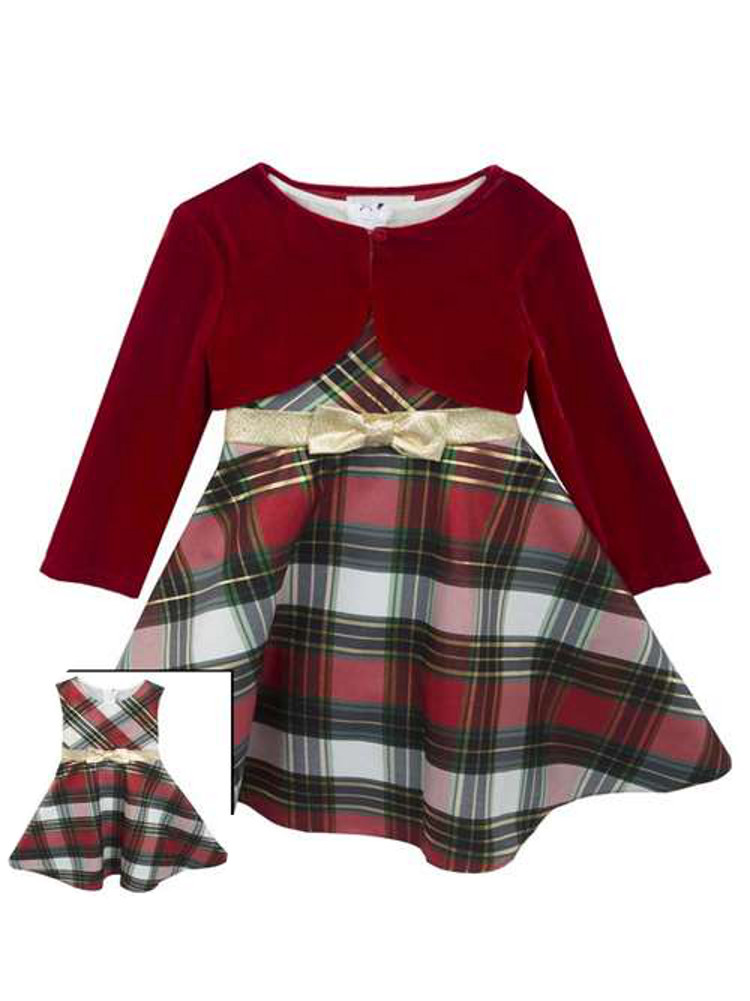 260b63637 Rare Editions Baby Girls Plaid Bow and Velvet Jacket Holiday Dress