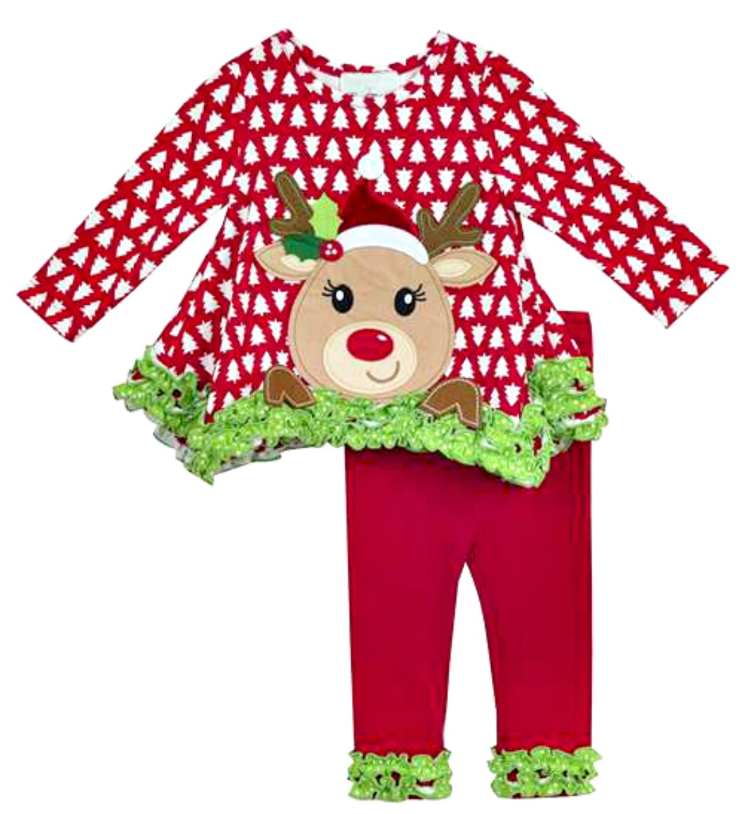 Rare Editions Christmas Toddler.Rare Editions Baby Girls Red Christmas Tree Reindeer Legging Set