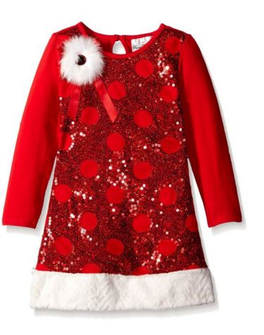 rare editions girls christmas dress red sequin circle velour