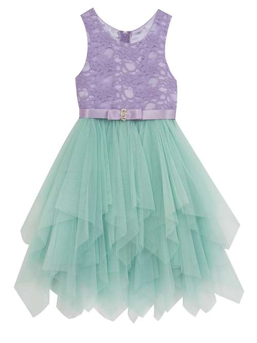 9599b4c81 Rare Editions Girls Party Dress Purple Lace Mint Tulle Dress