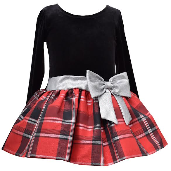 d08999ed78c Toddler Girls Red and Black Plaid Taffeta Dress with Silver Bow