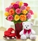 Assorted Roses, 18 stems with Bear Chocolate