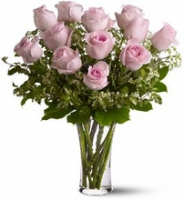 Dozen Pink Roses by Irving Florist