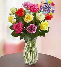 Happy Birthday Assorted Roses, 12- Stems