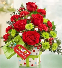 """Merry Everything"""" Present Bouquet"""
