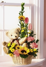 Mix Basket Teddy Bear and Flowers