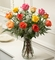 One Dozen Long Stem Multicolored Roses