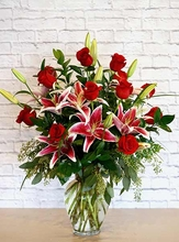 One Dozen Long Stem Roses with Stargazer Lilies Delivery In Irving