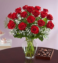 Red Roses 18 Stems with Chocolate