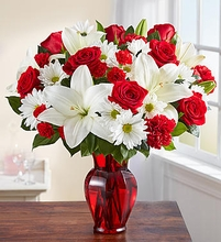 Red & White  bouqet Valentine flower