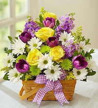 Springtime Wishes Basket Flowers