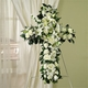 White Roses, Lilies & Carnations Standing Cross