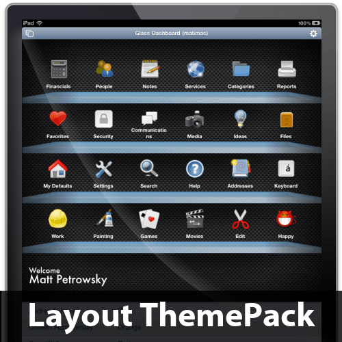 Filemaker templates glass dashboard layout themepack for Filemaker go templates