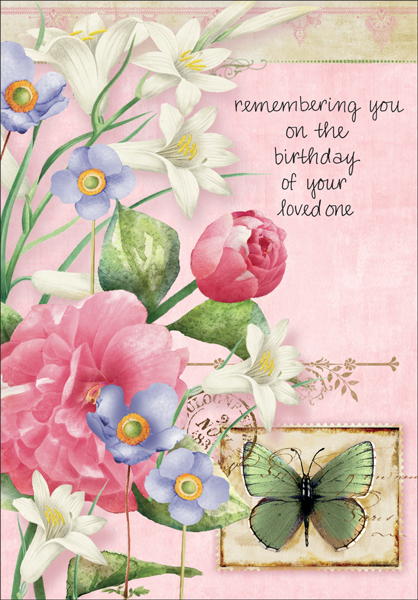 Lovely anniversary of death birthday cards it takes two inc b1102h floral hospice birthday cards m4hsunfo
