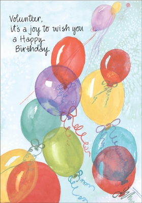 B4130V - Balloons Birthday Cards for Volunteers