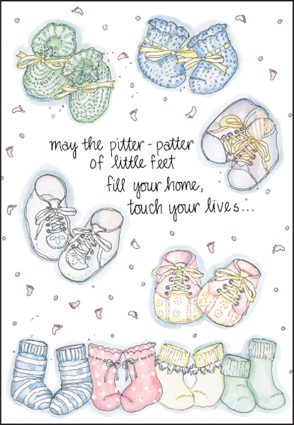 ba2612 little feet baby congratulations cards