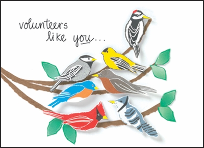 BL119V - Birds singing Volunteer Note Card