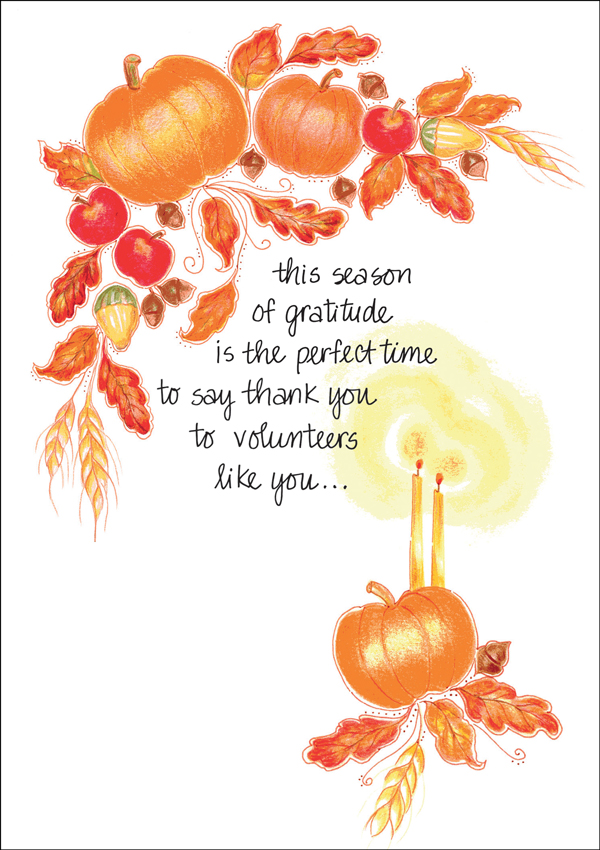 send a thanksgiving card to volunteers it takes two inc