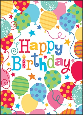 UBL06V - Balloons Birthday Note Cards for Volunteers