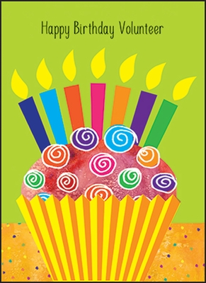 WBL14V - Cupcake Volunteer Birthday Note Cards