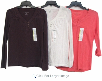 Assorted Eddie Bauer Embellished Lace Collar Women's Tops - Click to enlarge