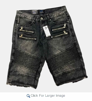 Denim Moto Biker Fray Bottom Shorts $18.50/pc - Click to enlarge