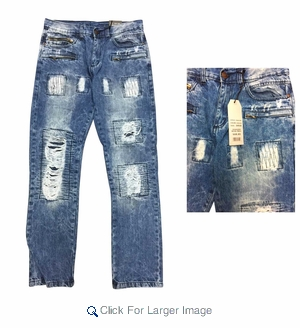 Men's ADKT Fashion Rip Repair Jeans - $18.50/pc. - Click to enlarge