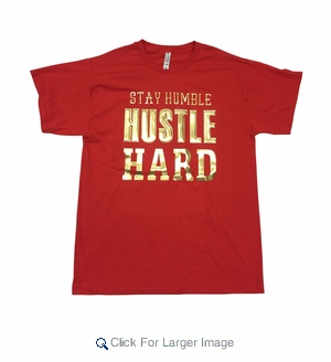 Men's Embossed Gold Tees - Hustle Hard - $9.50/pc - Click to enlarge