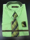 Men's L/S Dress Shirts W/ Tie & Handkerchief - Apple Green  (Ties Vary)