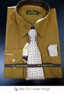 Men's L/S Dress Shirts W/ Tie & Handkerchief - Chocolate  (Ties Vary) - Click to enlarge