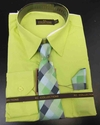 Men's L/S Dress Shirts W/ Tie & Handkerchief - Key Lime  (Ties Vary)