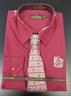 Men's L/S Dress Shirts W/ Tie & Handkerchief - Rose  (Ties Vary)