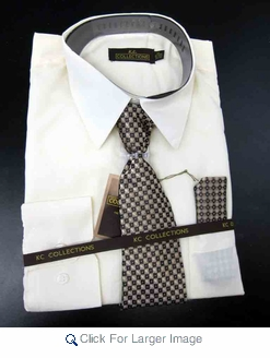 Men's L/S Dress Shirts W/ Tie & Handkerchief - Sand  (Ties Vary) - Click to enlarge
